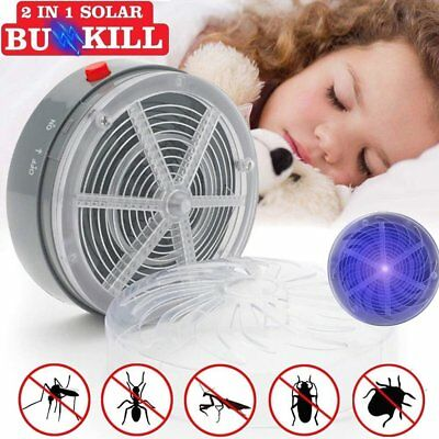 1/3X Solar Powered Buzz Kill Zapper Killer UV Light Fly Insect Bug Mosquito lamp