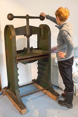Large Victorian cast iron free standing antique book press nipping press.