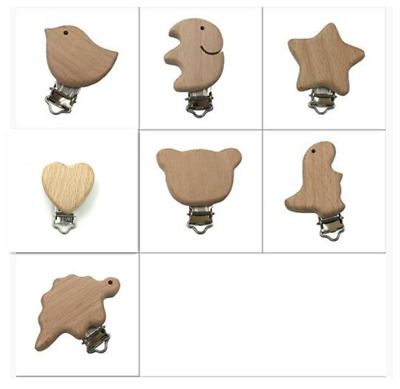 DIY Natural Wood Animal Pacifier Clips Baby molar Teether Pacifier chain Toys