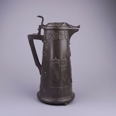 Kayserzinn Pewter Stein / Jug, German  Coat of Arms, Wilhelm II c1900