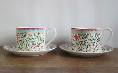 2 x Queens Caravan Trail Fowey Fine China Cups and Saucers.