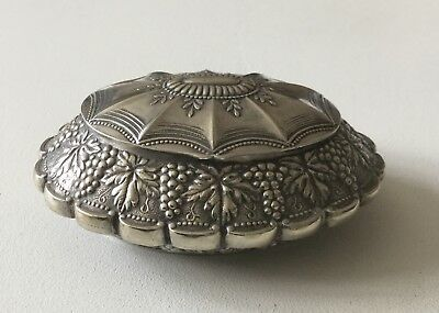 Vintage Silver Plated Grapevine Decorated Trinket Box