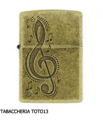 Zippo with antique brass violin key engraving