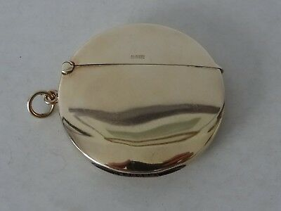 9Ct Rose Gold Plain Round Circular Vesta Case Birmingham 1913 17.3G Excellent