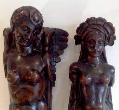 Pair Of Antique Carved Walnut Panels Caryatids 18 th Or 19 th Century