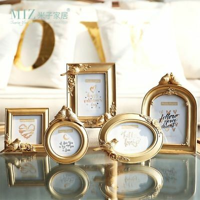 Gold Photo Frame Round Oval Square Shape Picture Frame Elegant Bird Royal Style