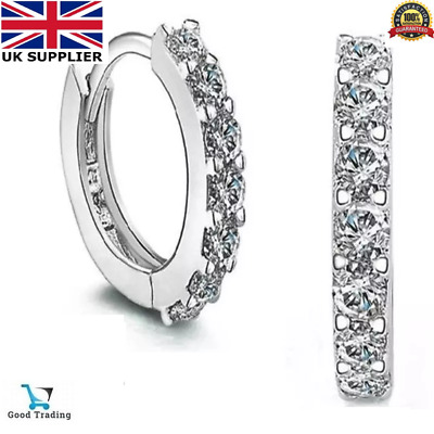Womens Hinged Huggie Earrings Crystal Small Sleeper Hoop Round Sterling Silver