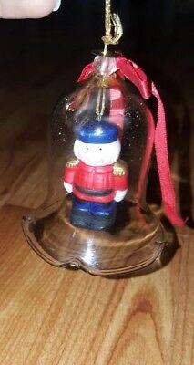 Vintage Clear Blown Glass Bell Christmas Ornaments Drummer Soldier Boy