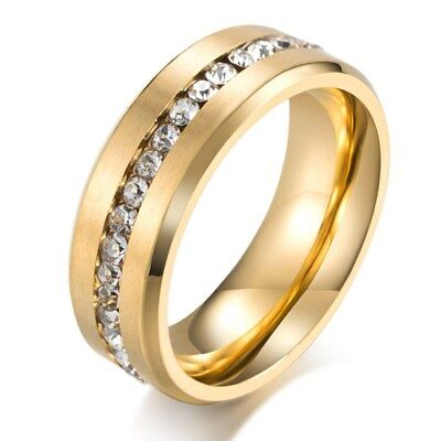 8mm Men's Titanium Steel AAA CZ Stylish Brushed Bands Anniversary Ring Size 7-12