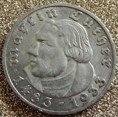 Drittes Reich 5 Mark 1933 A, Martin Luther