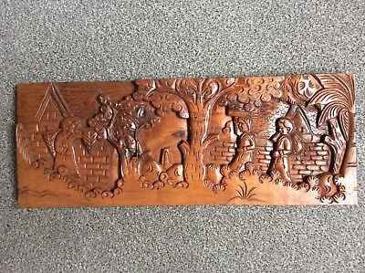 Wall Plaque Hand Carved wooden.  ? Antique ? Black Forest