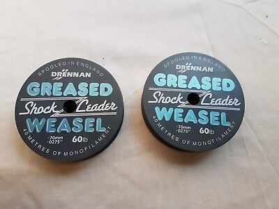 Two Drennan Greased Weasel Shock Leader Fishing Line - New