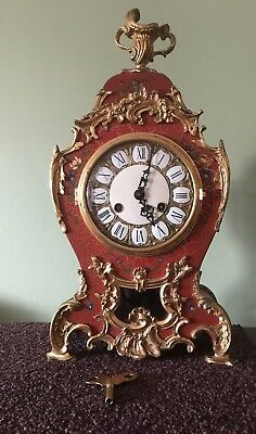 French Louis XV Style Boulle Lauris GiltMantel Clock Sun Face Pendulum Bracket