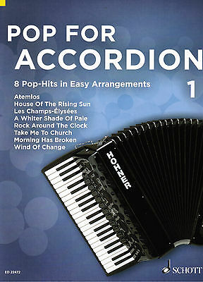 Akkordeon Noten : Pop for Accordion 1 - 8 Pop Hits - leichte Mittelstufe