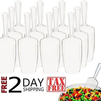 New 12 Clear Acrylic Plastic Kitchen Scoops Wedding Candy Dessert Buffet Scoops