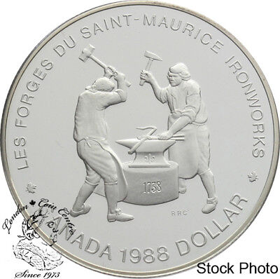 Canada 1988 $1 Saint-Maurice Ironworks Proof Silver Dollar Coin -Capsule Only