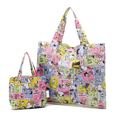 Snoopy & his Friends Foldable Shopping Nylon 2 Bags ~ Yellow