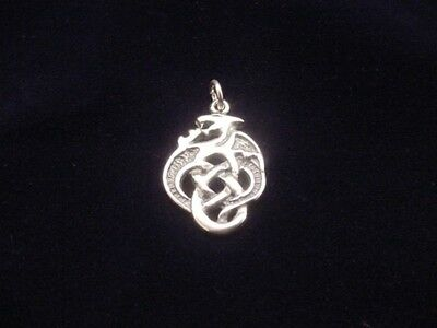 CELTIC DRAGON Charm  Oxidized .925 Sterling Silver