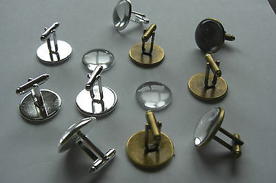16mm 18mm 20mm SILVER BRONZE ROUND CUFFLINK SETTING BLANK OPTIONAL GLASS DOMES