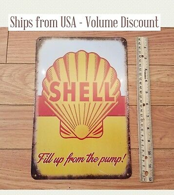 Vintage Shell Sign Metal Shell Gas Station Sign Tin Shell Sign Shell Oil Co Sign