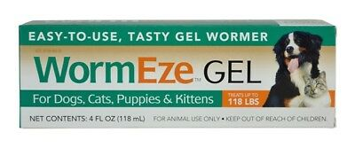 Durvet Wormeze Gel Canine dog puppy Cat kitten feline Dewormer 4 oz.