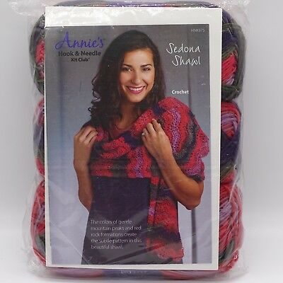 Annie's Crochet Kit Sedona Shawl HNK975 Red Purple New in Package Acrylic