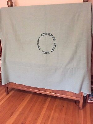Antique Edgewater Beach Hotel Chicago WOOL Blanket 20s-40s LARGE 7 x 5.5 GREEN
