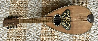 Antique early 1900's 8-string Lute Guitar Mandolin hand crafted wood instrument