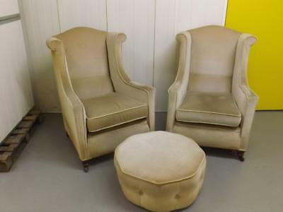 Pair Of Vintage 1930s Armchairs & Footstool For Restoration Wingback Art Deco
