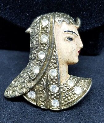 Ornate Vintage Gold Tone Enameled Egyptian Revival Pharos Bust C-Clasp Brooch