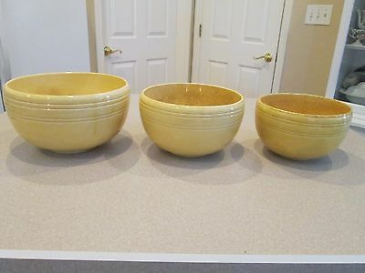 Early Antique Hull mixing bowl set H inside a circle rare
