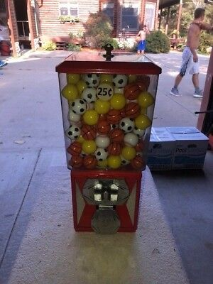 A&A GLOBAL PO89 VENDING TOY/GUMBALL MACHINE Used Filled with Sports Balls