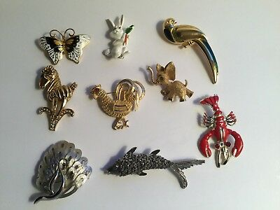 Vintage Estate Costume Jewelry Figural Brooch Lot of 9. A few signed.