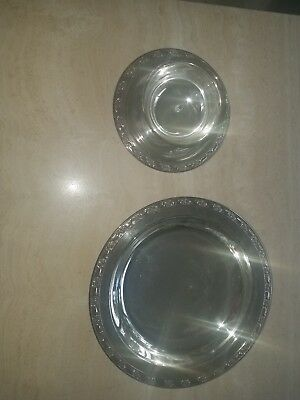 Lot ONEIDA SILVERSMITHS Engraved Chip and Dip Set and Large Plate
