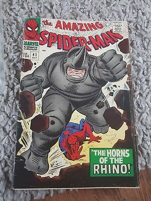 """The Amazing Spiderman """"The Horns Of The Rhino"""" Comic 1966"""