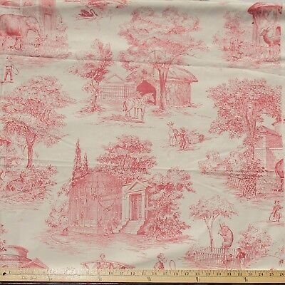 """Kaufman  Cotton Fabric Day at the Zoo Toile Burgundy on Cream   42"""" by 56"""""""
