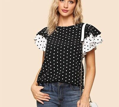60ef95792a Women Layered Ruffle Sleeve Blouse Black and White Preppy Polka Dot Keyhole  Back