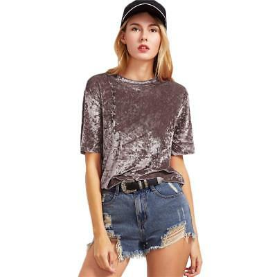 e6f8b81e Women's Tops Coffee Short Sleeve Crushed Velvet O Neck Casual Fit Tee  Shirts New