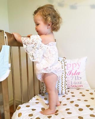 Baby Girl Pure White Off Shoulder Dress Lace Sleeves Bodysuits Hollow Outfit New