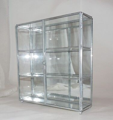 Vtg mini metal Glass Mirror Curio Display-Case Cabinet w Shelves table top, wall