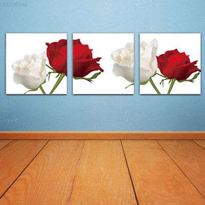 AD95 Red White Rose Wall Picture Oil Painting 3 Panels Wall Art Restaurant