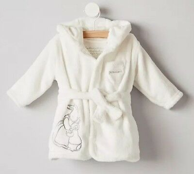 BNWT Peter Rabbit Mothercare White Baby Dressing Gown With Ears 9-12