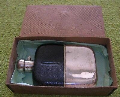 ANTIQUE EXTRA LARGE SILVER PLATE GLASS LEATHER  QUALITY HIP FLASK -HUNTING etc