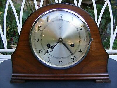 Vintage Wooden Mantle Clock, Works but selling spares and repair