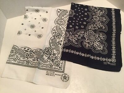 Lot of 2 Vintage Made in USA Bandannas 1 white 1 blue