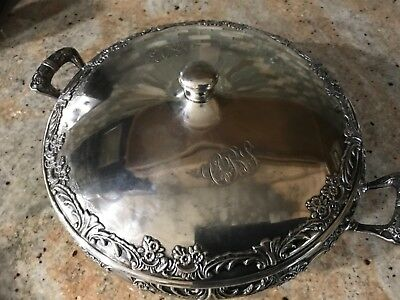 Vtg ornate Round Footed silver plate dish with cover & handles Reed & Barton