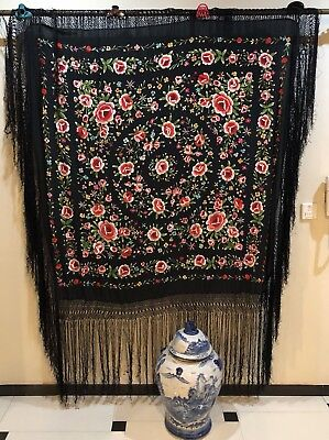 Antique Chinese Hand Embroidered Black Piano Shawl 137 X 140 Fringe 50 Cm