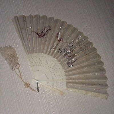Vintage Chinese 5 Claw Dragon Fan 1890s Bone/Silk/Silk Embroidered Clouds Scene