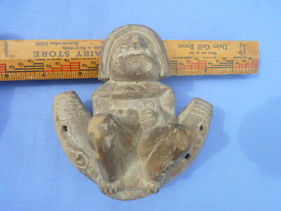 Vintage Pre Colombian Clay Flute Player