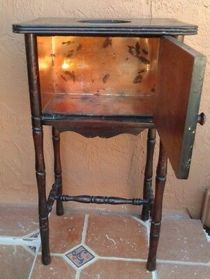 Antique Cigar/Smoking Stand Copper Lined Humidor Cushman Furniture Vermont as is